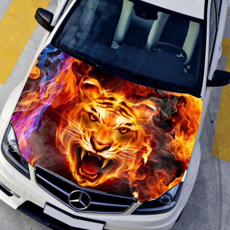 Car styling HD inkjet Burning Tigers Hood stickers car Waterproof Protective film Animal stickers 135*150cm Change color film(China (Mainland))