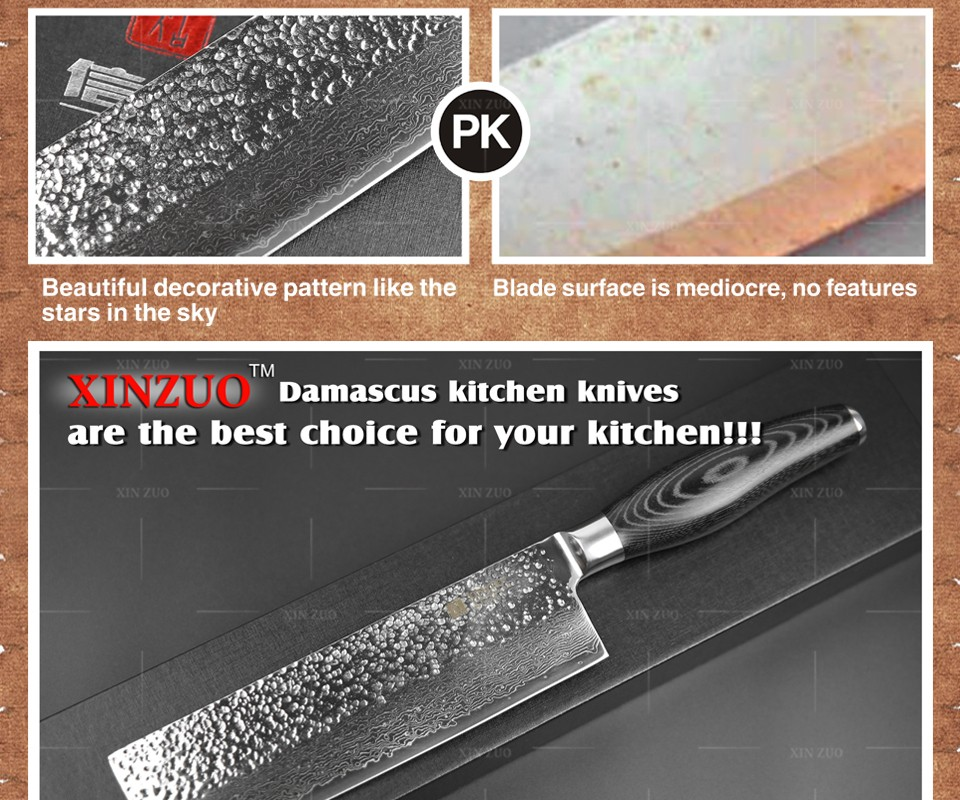 "Buy XINZUO 7 ""chef knife 73 layer Japanese Damascus kitchen knife Kithcne tool women vegetable knife Color wood handle free shipping cheap"