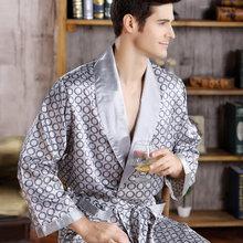 גברים משי ארוך שרוולים בתוספת גודל 5XL קימונו בית אמבט שמלת זכר מודפס גיאומטרי גלימות V-צוואר סאטן הלבשת כתונת לילה(China)