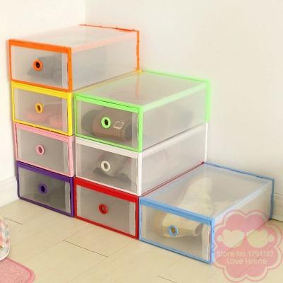 Creative Fashion Drawer Transparent Plastic Storage Box Shoe Box Covers Shoe Combination Storage Organizer Box(China (Mainland))