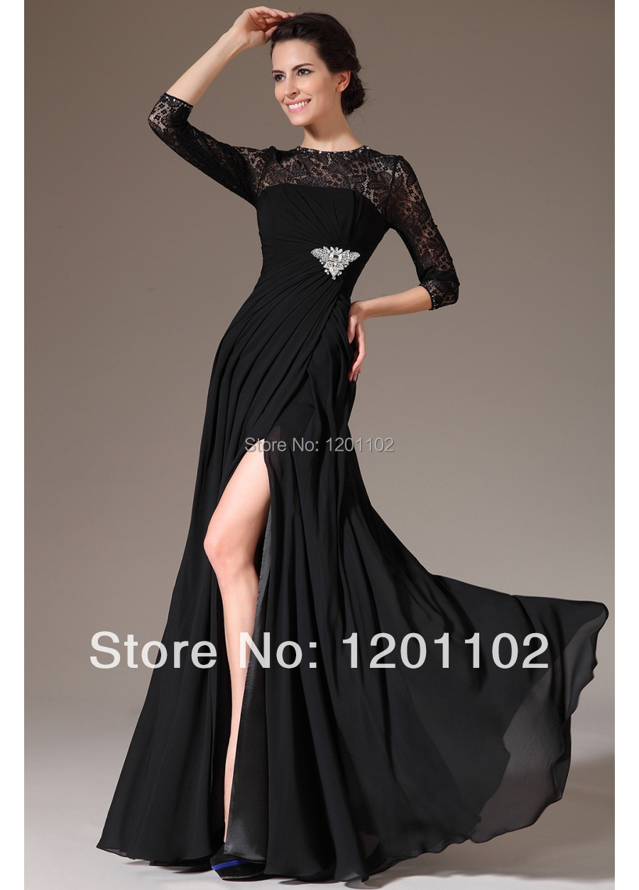 elegant black lace long evening dress event gown gala. Black Bedroom Furniture Sets. Home Design Ideas