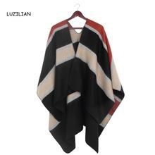 Newest Designer Brand Stitching Striped Scarf Women Winter Scarves Elegant Warm Bufandas Poncho Fashion Casual Shawls Femme S366(China (Mainland))