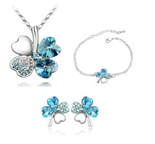 2015 Fashion Rhinestone Jewelry Sets Crystal Necklace Earrings Set Four Flower Wedding Bride Party - NEW Style Dream store