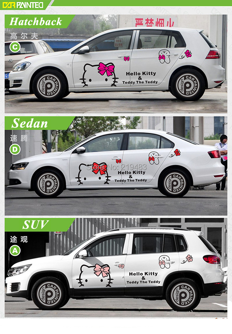 Car full body sticker design -  Whole Car Sticker Design Cute Kitty Cat Car Body Sticker Hood Decals Car Accessories 3d Cartoon