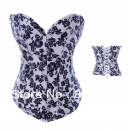 Free shipping New Blue flowers lace Up terylene Boned Corset Basque Christmas clothing 2883(China (Mainland))