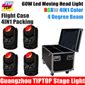 Freeshipping 4IN1 Flightcase Packing 60W Led Moving Head Beam Light O S R A M Lamp
