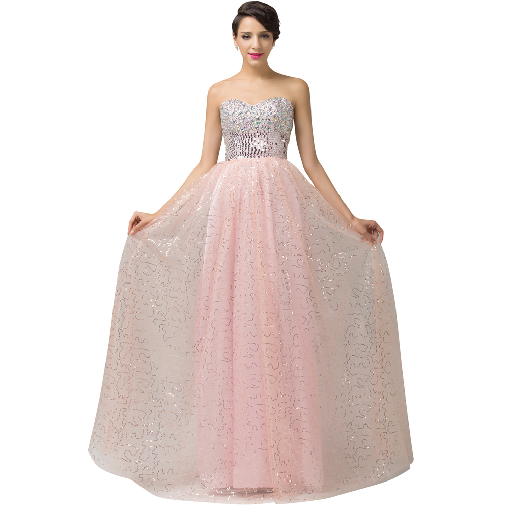 Cheap Elegant Crystal Beaded Sequined Ball Gown Evening Dresses 2016 Shoulder Long Party Dress Prom Vestido Longo 6150 - Grace Karin Co. Limited store