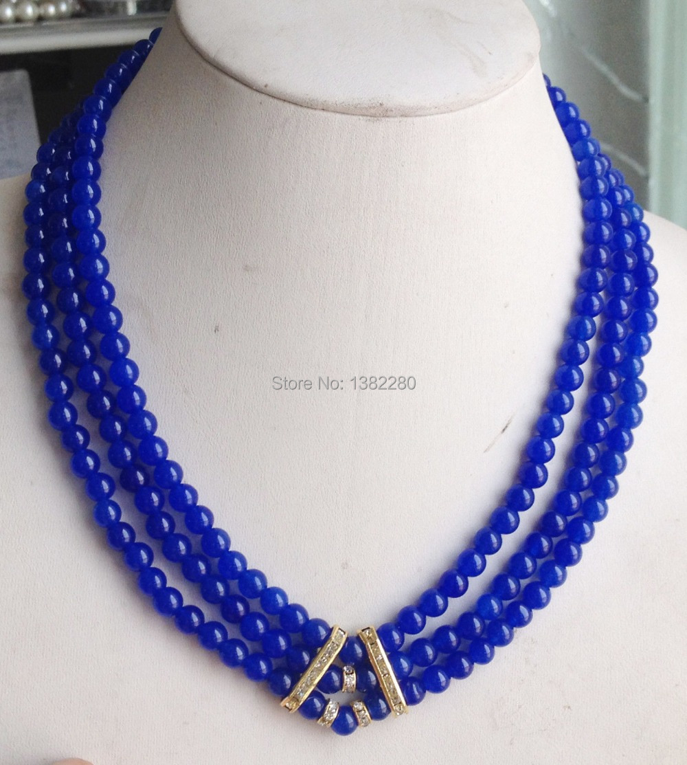 New fashion!3Row 6mm Blue round beads Jasper necklace 17-19inch DIY women jewelry making design JT5648(China (Mainland))
