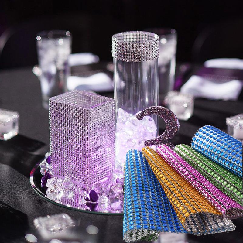 1 yard/91.5cm Rhinestone Chain Diamond Mesh Trim Wedding Decoration Crafts Bling Wrap Party Crystal