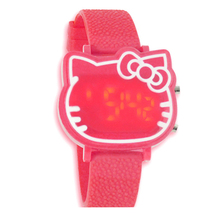2016 new fashion candy-color kids watches Women Lady Hello Kitty BIG Led Digital Wrist Watch Birthday Gift for girl
