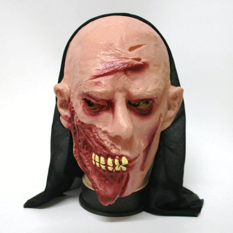 Halloween Mask Tongue Ghost Flat Head Monk Green Needles Ghost Centipede Face Pullover Horror Mask Party Goods Cosplay Products(China (Mainland))