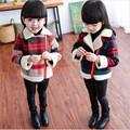 2016 Baby Girl Winter Warm Plaid Coat Girl School Long Sleeve Thick Jackets Kid Christmas Fashion
