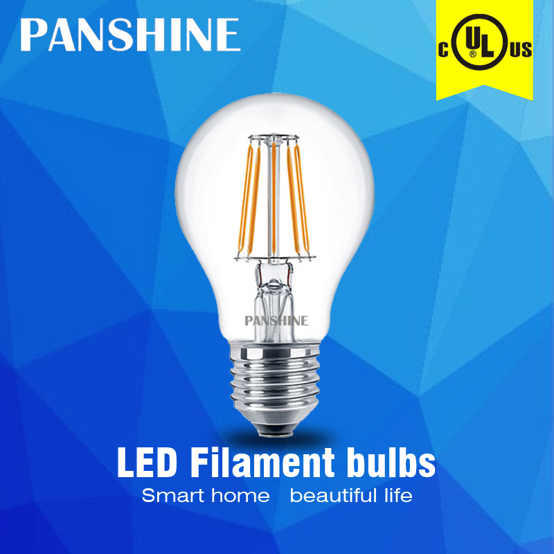 Edison filament bulb AC120V A19 2W 4W 6W UL dimmable glass energy-save indoor led lamp Equivalent 60W incandescent free shipping(China (Mainland))