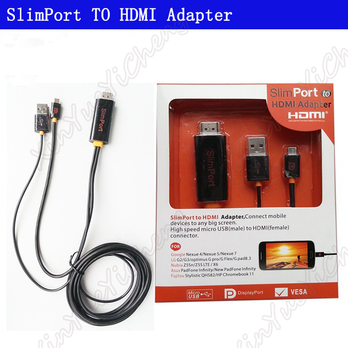 Quality 2M USB SlimPort to HDMI Cable HDTV TV Audio Video Cord Adapter for Nubia Asus Fujitsu Google Nexus 4 5 7 For LG G2 G3(China (Mainland))