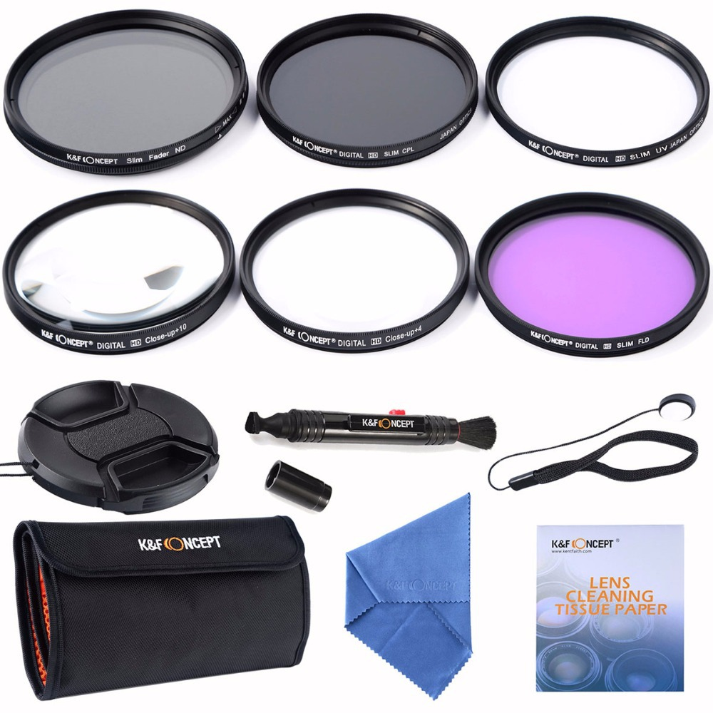 52mm Slim UV CPL FLD+Adjustable Fader Variable ND+Macro Close Up +4+10+ Cleaning kits Lens Filter For Nikon D7100 D5100 D3100(China (Mainland))