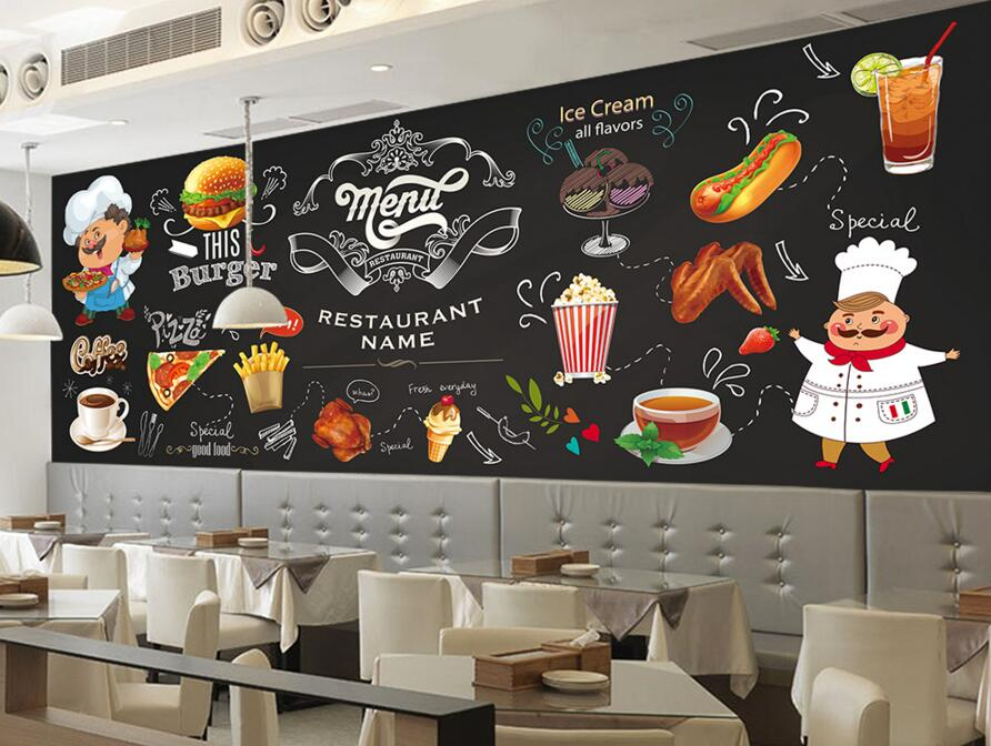 Custom modern wallpaper, 3D photo mural for western restaurant fast food restaurant in Hamburg shop background wall wallpaper(China (Mainland))