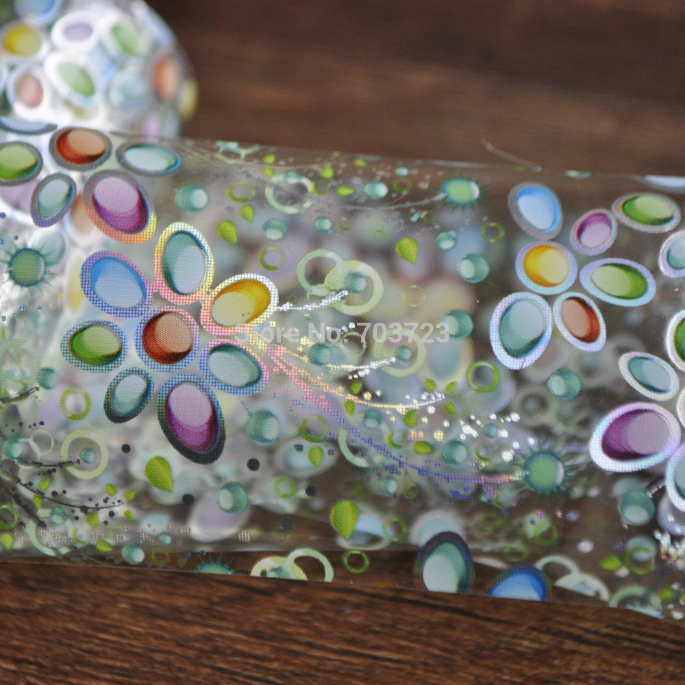 The latest technology sexy nail foil stickers foil Green Sunflower Dot YC424(China (Mainland))