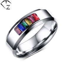 Buy GZ AAA Colorful Crystal Ring 316L Stainless Steel Wedding Rings Man Jewelry AAA Cubic Zirconia USA Size 5 13 for $3.59 in AliExpress store