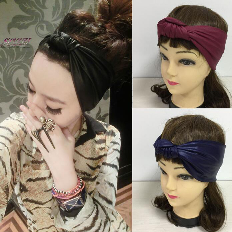 Faux Leather Elastic Headband High Quality Imitation Leather Bow Hairbands Female Spring And Summer Bow Bandanas Black Blue Red(China (Mainland))
