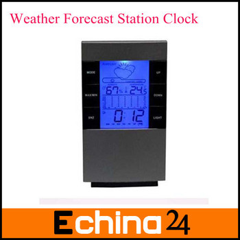 Free Shipping New Packing Gray Color Weather Forecast Station LED Digital Clock Temperature Desktop Alarm Clock