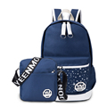 Korean Style Fashion Contrast Color Bag Women Trendy Print Canvas Backpack Simple Practical Durable Zipper Men