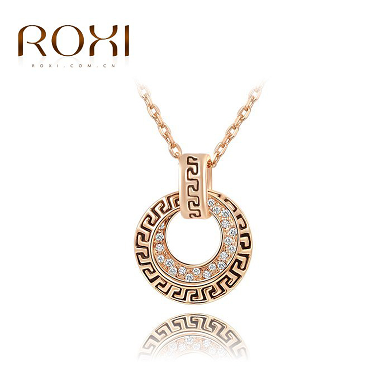 ROXI Fashion Women Jewelry Vintage Style Rose Gold Plated Fretwork Pendant Necklace Austrian Crystals New - GEORGE SMITH JEWELRY(Russia store)