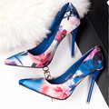 Thin Heels Pumps Women Shoes Spring Summer Print Flower High Heels Shoes Floral Pointed Toe Heeled
