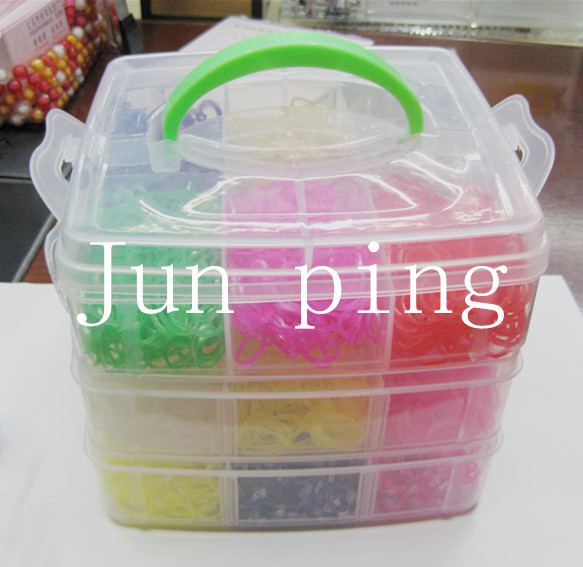 450rubber crazy fun kids DIY bracelet silicone loom bands box 3 layer PVC family set refills - junping rubber factory store