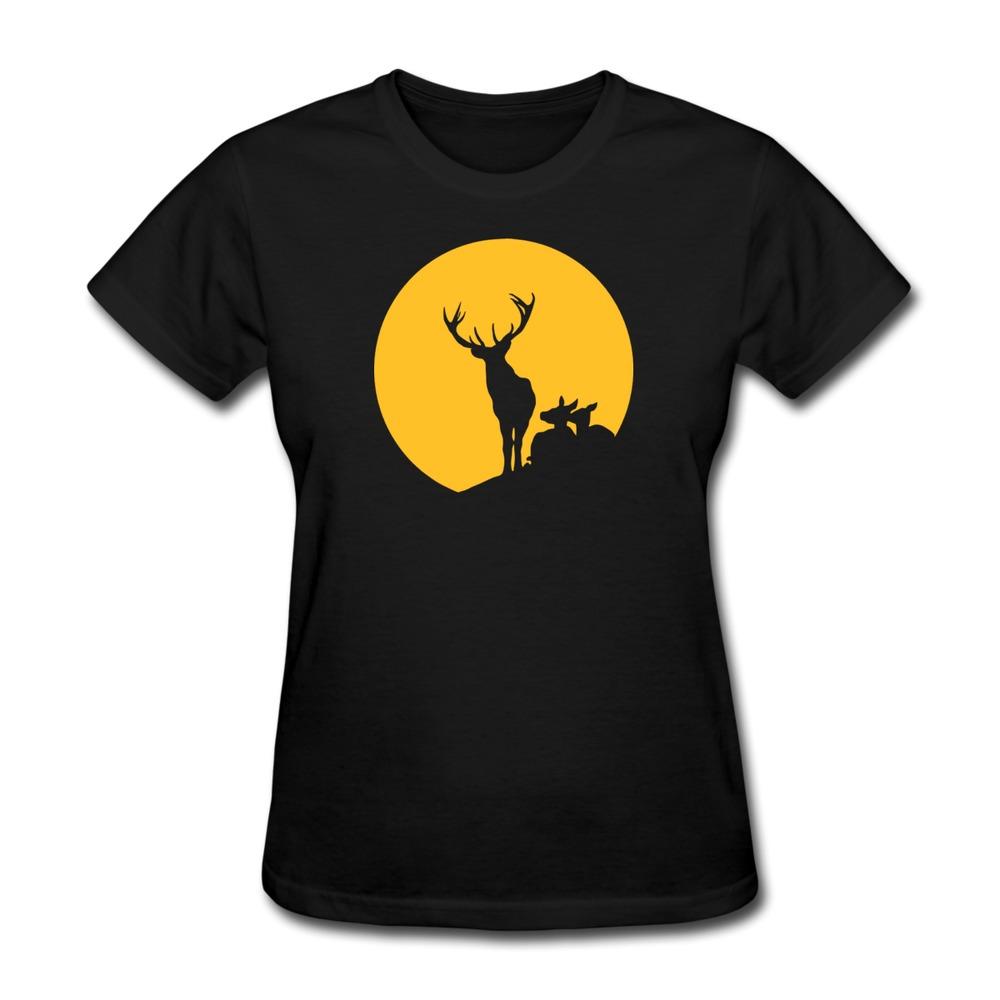 Regular T Shirt Womens Deer Family Sun Custom Funny Icons