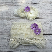 Baby Lace Ruffle Shorts Matching Baby Headband   Baby Girl  Diaper Covers  Baby Ruffle Bloomer(China (Mainland))