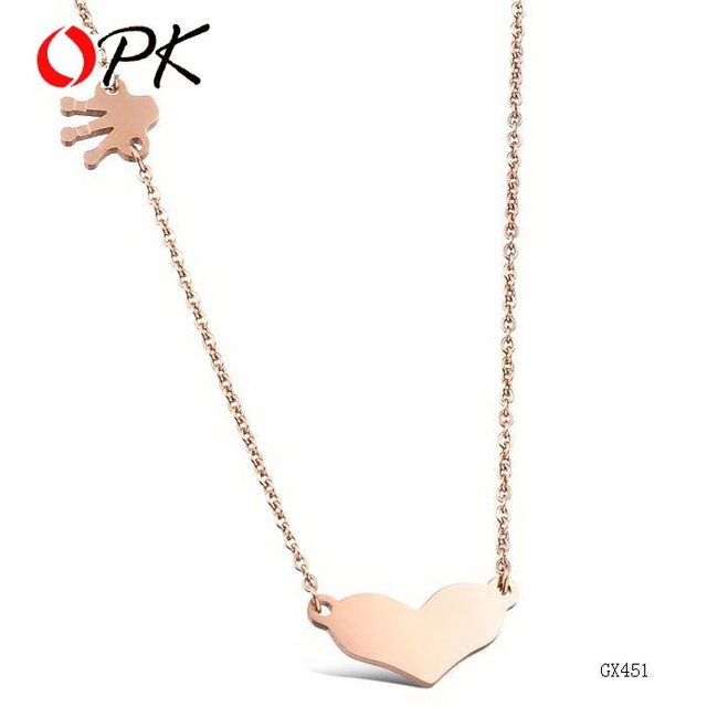 OPK JEWELRY 18K rose Gold Pendant Heart Jewelry  Wedding Necklace 451