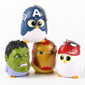 7cm Cartoon OWL Cos Captain America Iron Man Spiderman Hulk Bag Pedant PVC Action Figure Collection