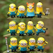 12Pcs/lot 2015 Minions Despicable Me 2 Action Figures Toys 3D glasses Minion dolls toy Decoration Brinquedos Christmas Gift