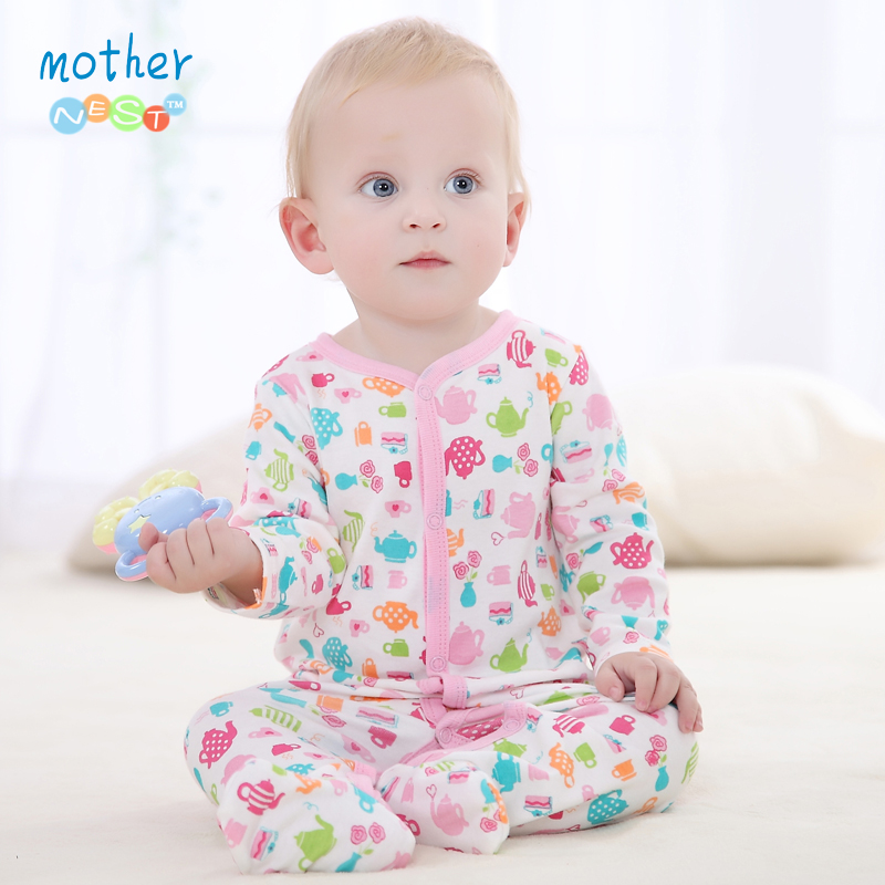 Baby Clothing 2016 New Newborn Baby Print Romper Baby Girl Cotton Long Sleeve Baby Jumpers Infant Clothing Summer Romper(China (Mainland))