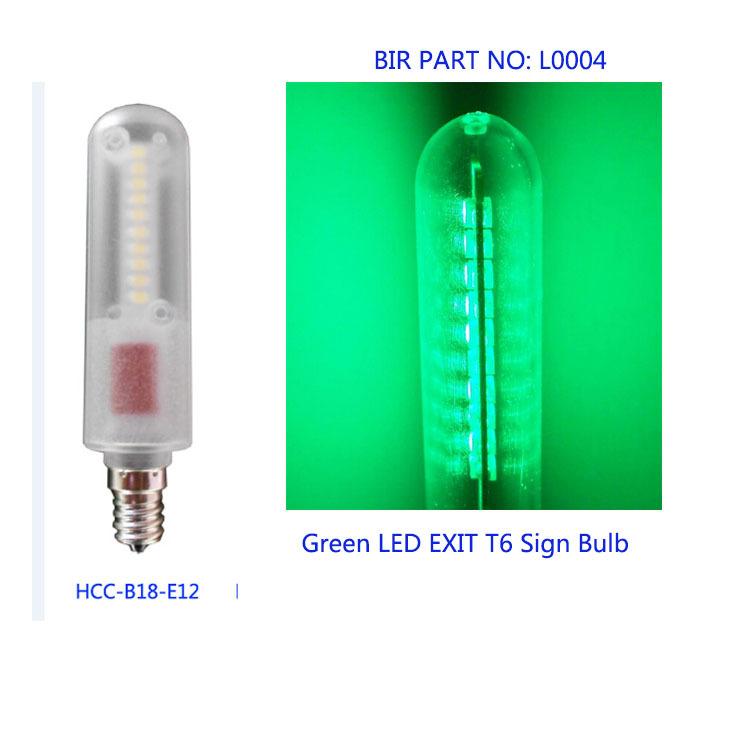 green 0 6w e12 emergency exit sign led bulb light t6 e12 candelabra. Black Bedroom Furniture Sets. Home Design Ideas