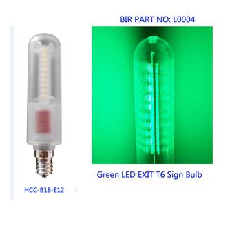 Green 0.6W E12 emergency exit sign led bulb light T6 E12 Candelabra safety door indicator bulbs canada usa japan