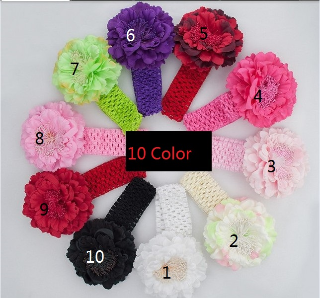 Free Shipping 1pcs/lot Cute Baby Peony Flower Hair Clip with Stretchy Crochet Headband for Girl Pettiskirtr xth041(China (Mainland))