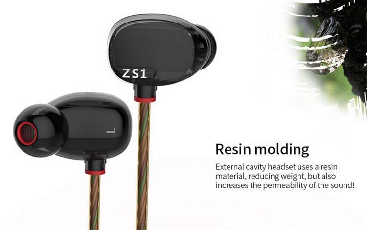 KZ ZS1/KZ ZS2 In-ear Earphone MP3 Music Wired Stereo Headset HiFi Noise Cancelling Earbuds Dual Driver Earphones With Microphone