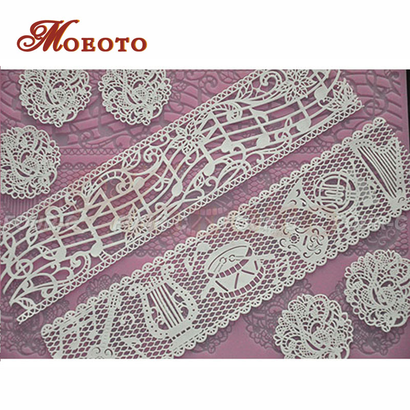 Cake decor silicone mat, music 3d silicone fondant lace,platinum silicone decor pad, silicone stencil free shipping(China (Mainland))