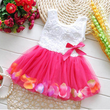 2016 Summer Cotton Baby Aestheticism Fairy Tale Petals Colorful Dress Chiffon Princess Newborn Baby Dresses For Free shipping(China (Mainland))