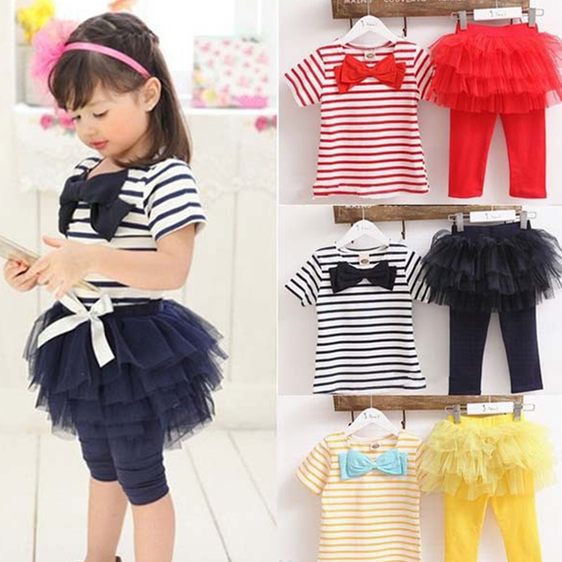 Kid Girl Stripe Bow Top T-shirt + Tutu Skirt Leggings Culottes 2pcs girls clothing set kids suits Outfit Sets Free&amp;Drop Shipping<br><br>Aliexpress
