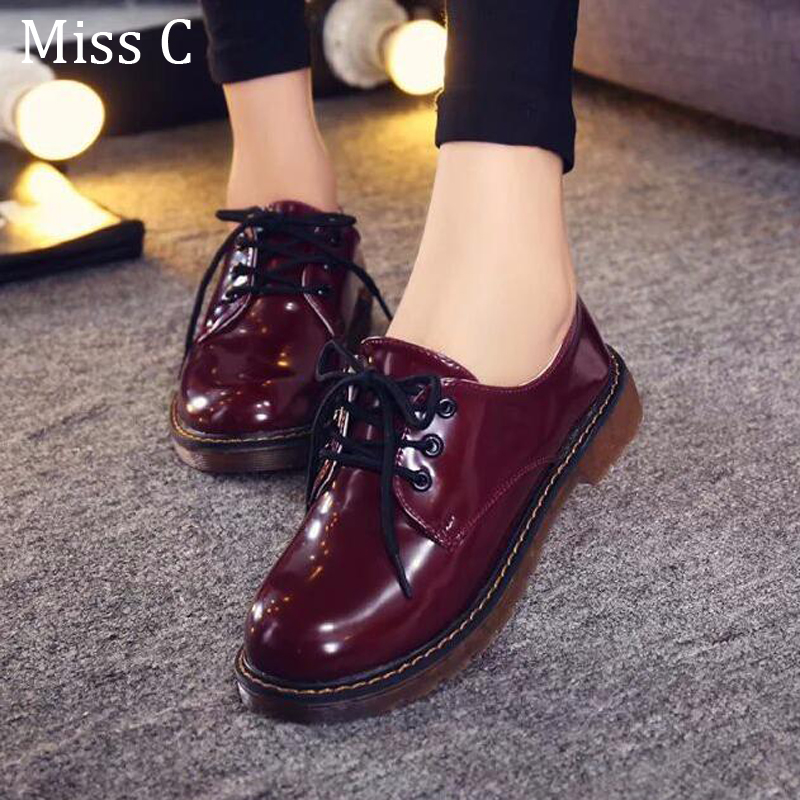 2016 Women Oxford Shoes Spring Autumn Vintage Black Shoes Woman Platform Flats Solid Print Plain PU Leather Creepers WFS32(China (Mainland))
