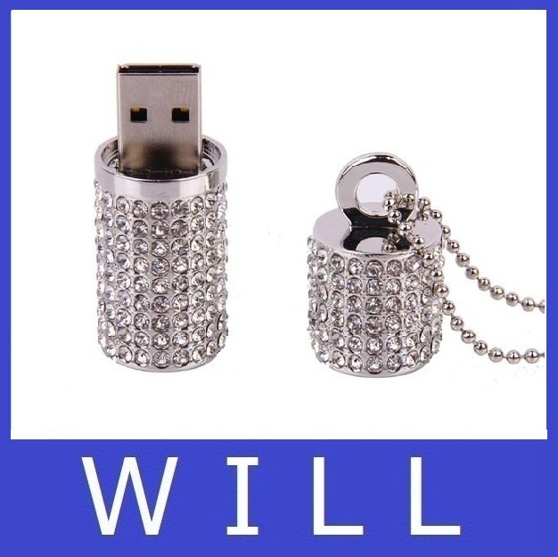 silver usb flash drive 4GB 8GB 16GB 32GB 64GB U Disk diamond metal Pendant memory stick flash card pen drive pendrive hot sale(China (Mainland))