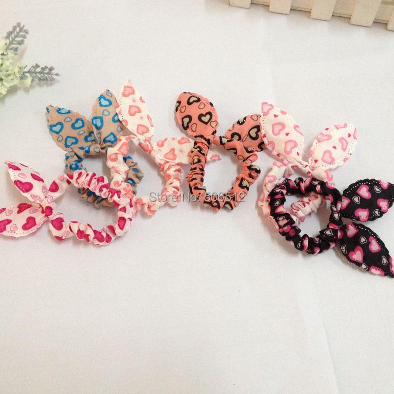 10 pcs/lot Cute Bunny Rabbit Ears Love Heart Headband Hair Ties Rope Women Girls Ponytail Holder Hair Knot Bows Accessories(China (Mainland))