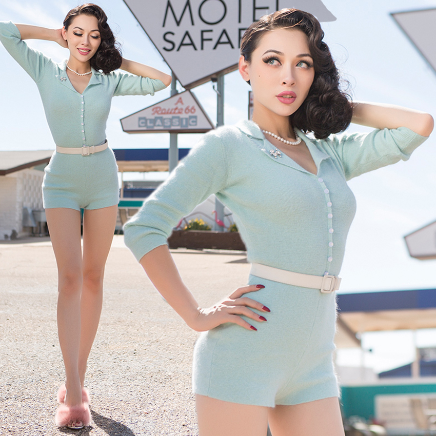 FREE SHIPPING Le Palais Vintage 2016 New Sweet Turn Down Collar Mint Green Knitted Rabbit Fur Slim Rompers Short Jumpsuits WomenОдежда и ак�е��уары<br><br><br>Aliexpress