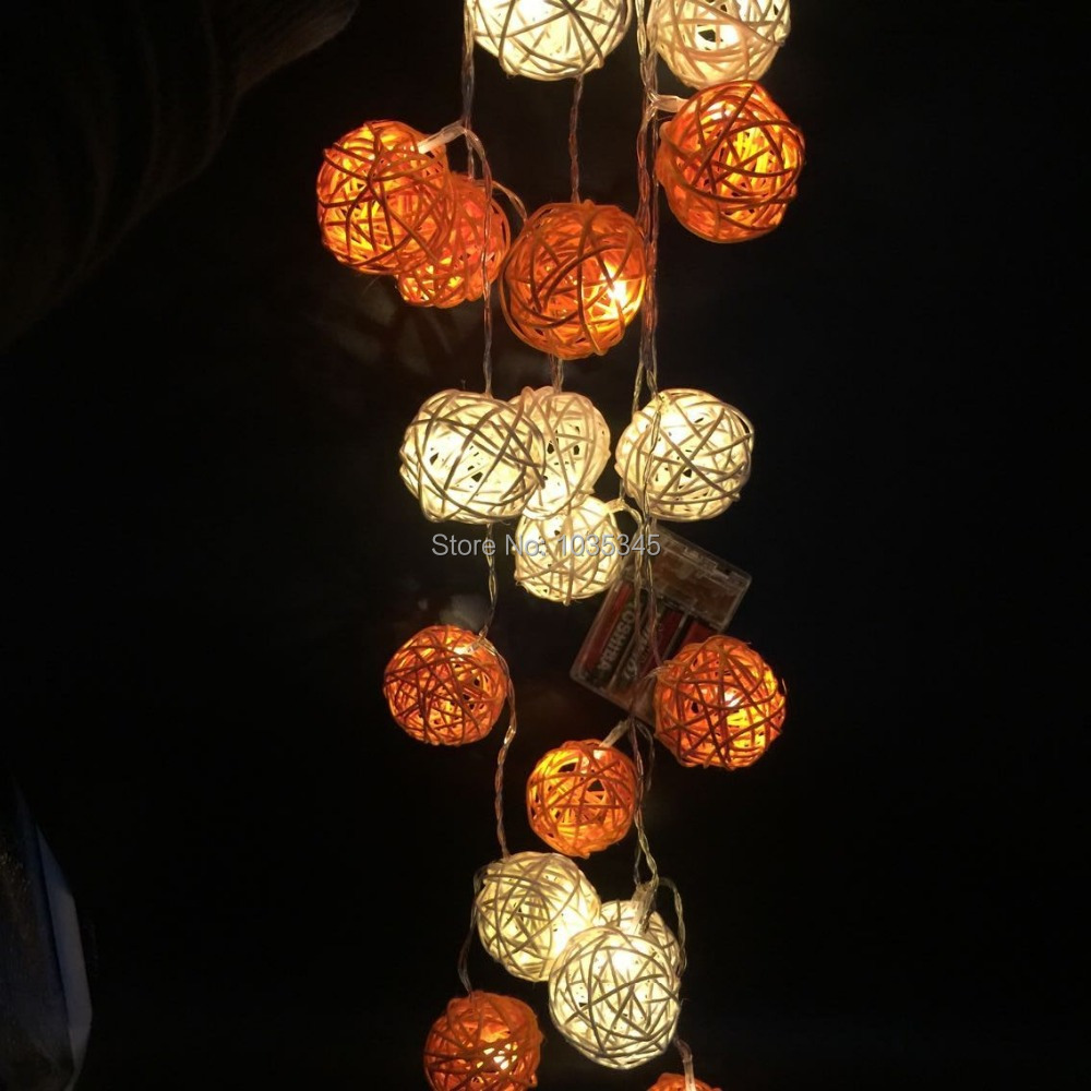 LED Battery Rattan String Lights 20pcs White&Orange Rattan Balls String Lights Party Wedding Patio Christmas Decor Fairy lights(China (Mainland))