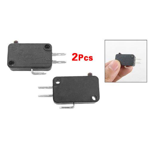 2 Pcs Electric 1NO 1NC Contacts Push Button Micro Switch Black Wonderful Gift(China (Mainland))