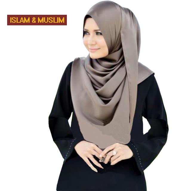 Бесплатная доставка мусульманские простые атласная длинные хиджаб арабского исламского ...