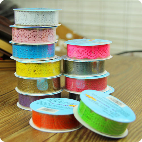 1 X Hot Lace Roll DIY Scrapbooking Paper Decorative Sticky Paper Masking Tape Self Adhesive 9 Colors(China (Mainland))