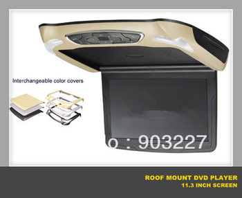 NEW ! car DVD player for roof mount flip down with 11.3 inch screen HD ,interchangeable colour covers